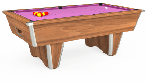 7ft Elite Free Play in Light Walnut with Hainsworth Smart Pink cloth