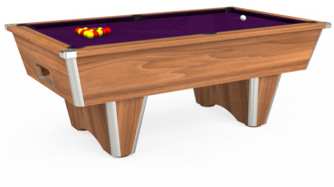 7ft Elite Free Play in Light Walnut with Hainsworth Smart Purple cloth