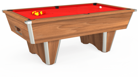 7ft Elite Free Play in Light Walnut with Hainsworth Smart Red cloth