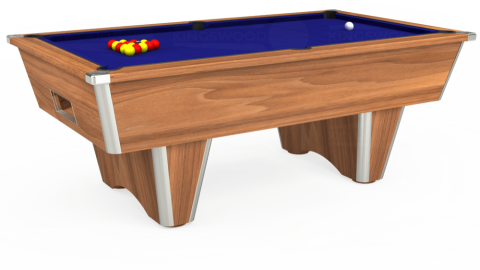 7ft Elite Free Play in Light Walnut with Hainsworth Smart Royal Blue cloth