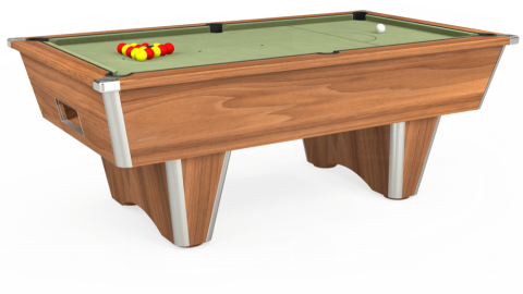 7ft Elite Free Play in Light Walnut with Hainsworth Smart Sage cloth