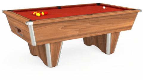 7ft Elite Free Play in Light Walnut with Hainsworth Smart Windsor Red cloth