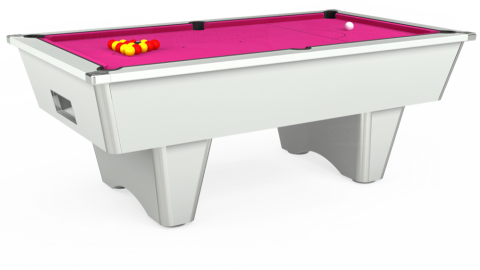 7ft Elite Free Play in White with Hainsworth Elite-Pro Fuchsia cloth