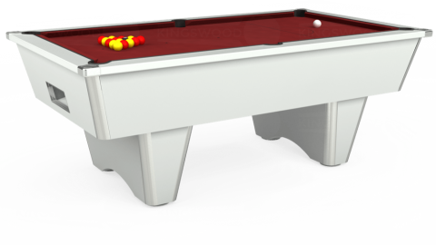 7ft Elite Free Play in White with Hainsworth Smart Maroon cloth