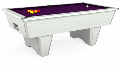 7ft Elite Free Play in White with Hainsworth Smart Purple cloth