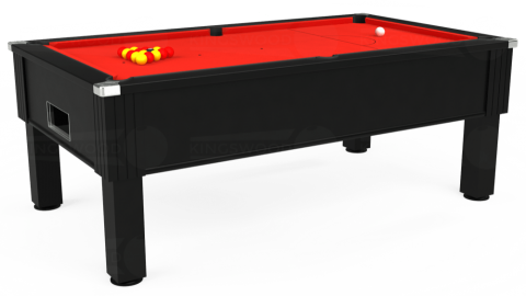 7ft Emirates Free Play in Black with Hainsworth Elite-Pro Bright Red cloth