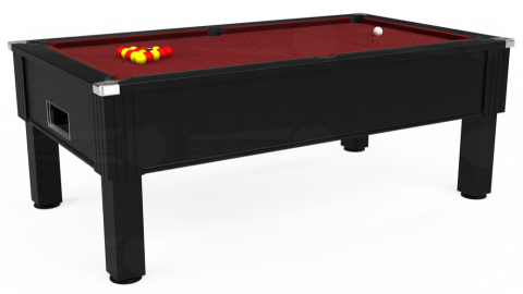 6ft Emirates Free Play in Black with Hainsworth Elite-Pro Burgundy cloth