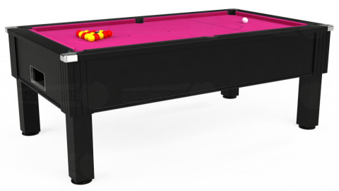 7ft Emirates Free Play in Black with Hainsworth Elite-Pro Fuchsia cloth