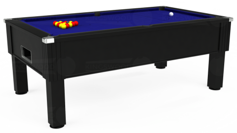 7ft Emirates Free Play in Black with Hainsworth Smart Royal Blue cloth