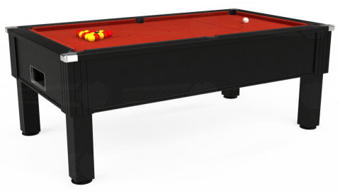 7ft Emirates Free Play in Black with Hainsworth Smart Windsor Red cloth