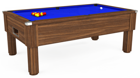 7ft Emirates Free Play in Dark Walnut with Standard Blue cloth