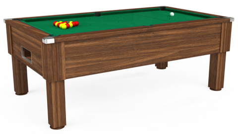 7ft Emirates Free Play in Dark Walnut with Hainsworth Elite-Pro American Green cloth