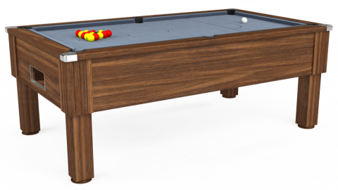 7ft Emirates Free Play in Dark Walnut with Hainsworth Elite-Pro Bankers Grey cloth
