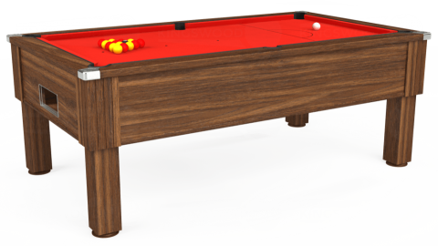 6ft Emirates Free Play in Dark Walnut with Hainsworth Elite-Pro Bright Red cloth