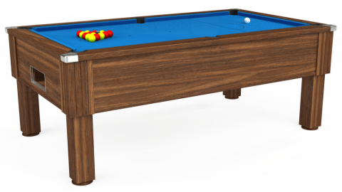 7ft Emirates Free Play in Dark Walnut with Hainsworth Elite-Pro Electric Blue cloth