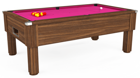7ft Emirates Free Play in Dark Walnut with Hainsworth Elite-Pro Fuchsia cloth