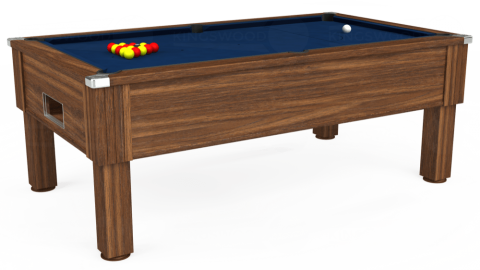 7ft Emirates Free Play in Dark Walnut with Hainsworth Elite-Pro Marine Blue cloth