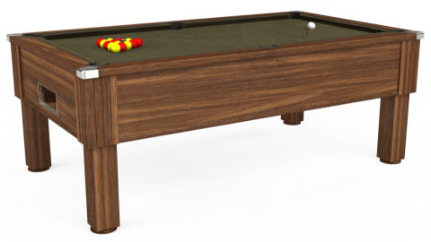 7ft Emirates Free Play in Dark Walnut with Hainsworth Elite-Pro Olive cloth