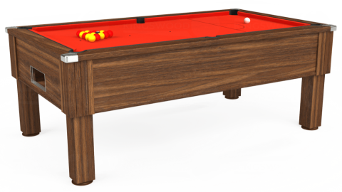 7ft Emirates Free Play in Dark Walnut with Hainsworth Elite-Pro Orange cloth