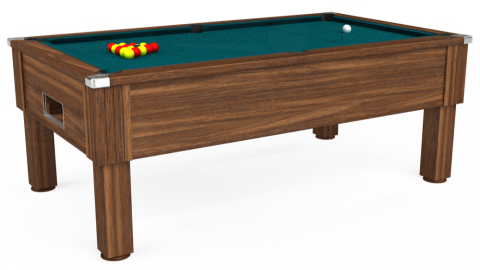 7ft Emirates Free Play in Dark Walnut with Hainsworth Elite-Pro Petrol Blue cloth