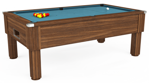 7ft Emirates Free Play in Dark Walnut with Hainsworth Elite-Pro Powder Blue cloth