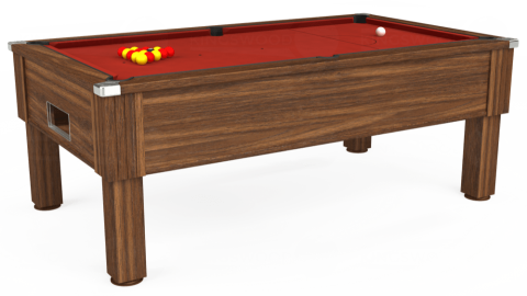 7ft Emirates Free Play in Dark Walnut with Hainsworth Elite-Pro Red cloth