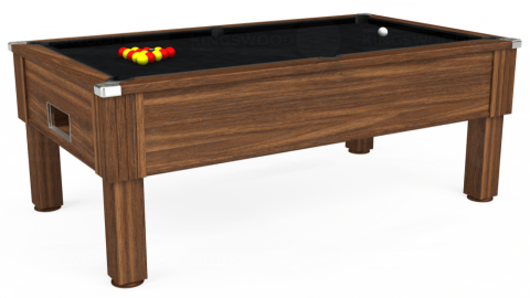 7ft Emirates Free Play in Dark Walnut with Hainsworth Smart Black cloth