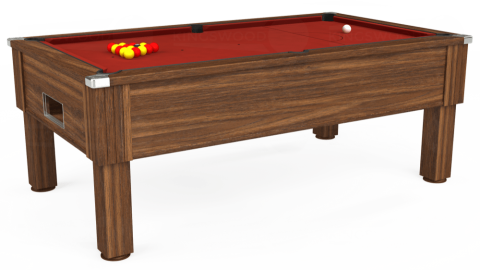 7ft Emirates Free Play in Dark Walnut with Hainsworth Smart Cherry cloth