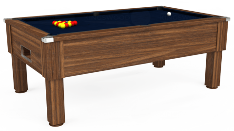 7ft Emirates Free Play in Dark Walnut with Hainsworth Smart French Navy cloth