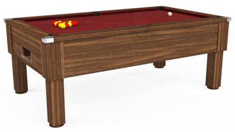 7ft Emirates Free Play in Dark Walnut with Hainsworth Smart Maroon cloth