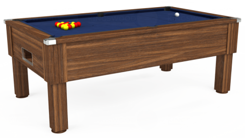 7ft Emirates Free Play in Dark Walnut with Hainsworth Smart Navy cloth