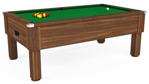 7ft Emirates Free Play in Dark Walnut with Hainsworth Smart Olive cloth