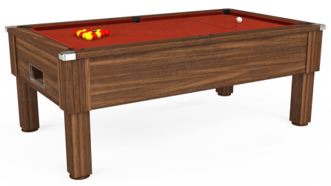 7ft Emirates Free Play in Dark Walnut with Hainsworth Smart Paprika cloth