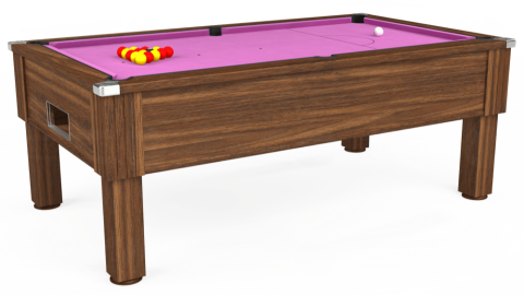 7ft Emirates Free Play in Dark Walnut with Hainsworth Smart Pink cloth