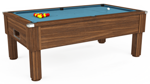 7ft Emirates Free Play in Dark Walnut with Hainsworth Smart Powder Blue cloth
