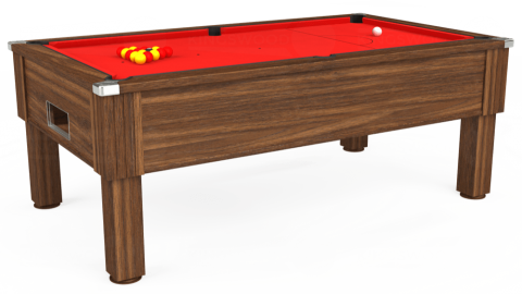 7ft Emirates Free Play in Dark Walnut with Hainsworth Smart Red cloth