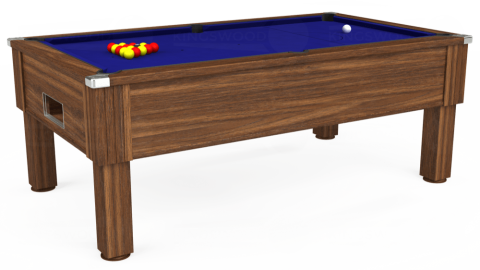 7ft Emirates Free Play in Dark Walnut with Hainsworth Smart Royal Blue cloth