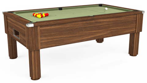 7ft Emirates Free Play in Dark Walnut with Hainsworth Smart Sage cloth