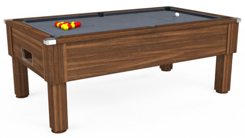 7ft Emirates Free Play in Dark Walnut with Hainsworth Smart Silver cloth