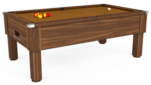 7ft Emirates Free Play in Dark Walnut with Hainsworth Smart Tan cloth