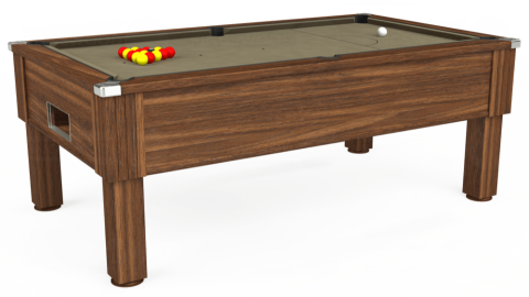 7ft Emirates Free Play in Dark Walnut with Hainsworth Smart Taupe cloth