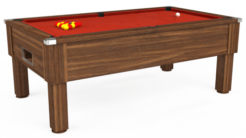 7ft Emirates Free Play in Dark Walnut with Hainsworth Smart Windsor Red cloth