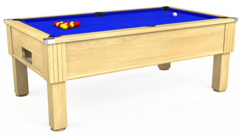 7ft Emirates Free Play in Light Oak with Standard Blue cloth