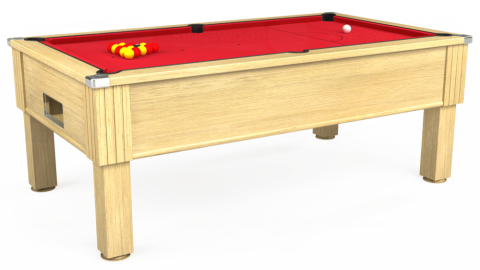 7ft Emirates Free Play in Light Oak with Standard Red cloth
