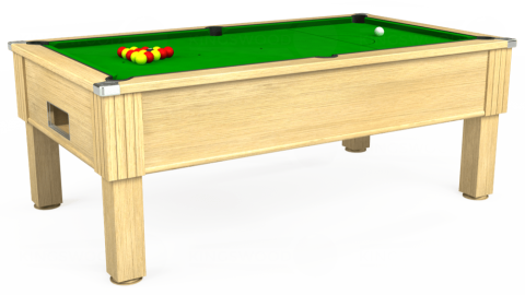 7ft Emirates Free Play in Light Oak with Standard Green cloth