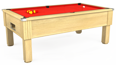 6ft Emirates Free Play in Light Oak with Hainsworth Elite-Pro Bright Red cloth