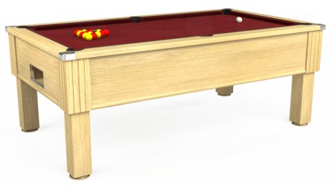 6ft Emirates Free Play in Light Oak with Hainsworth Elite-Pro Burgundy cloth