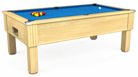 6ft Emirates Free Play in Light Oak with Hainsworth Elite-Pro Electric Blue cloth