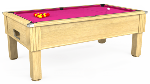 7ft Emirates Free Play in Light Oak with Hainsworth Elite-Pro Fuchsia cloth