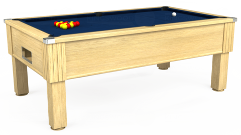 7ft Emirates Free Play in Light Oak with Hainsworth Elite-Pro Marine Blue cloth